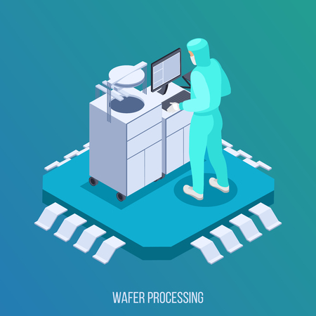 Semicondoctor production isometric composition with wafer processing symbols isometric vector illustration Illustration
