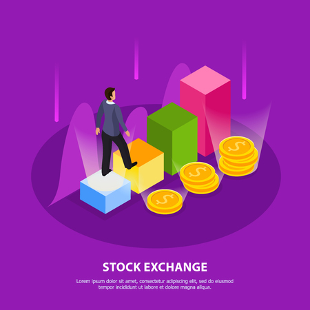 Stock exchange isometric composition with stock exchange headline and abstract elements vector illustration