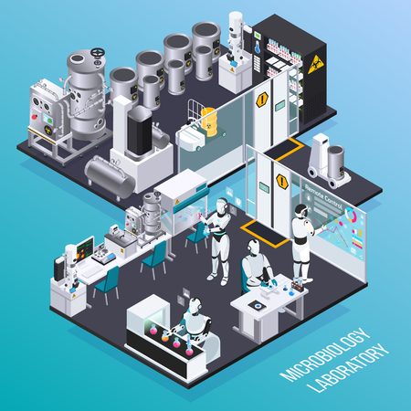 Robot isometric professions concept with microbiology robot employers in laboratory isolated room vector illustration