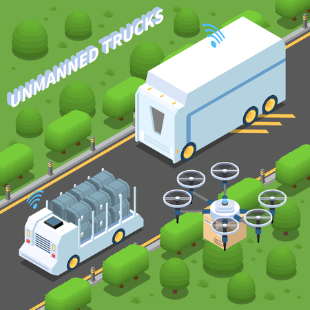 Autonomous car driverless vehicle robotic transport isometric composition with view of suburban motorway and unmanned trucks vector illustration