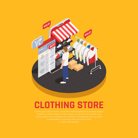 Mobile shopping concept with clothing store symbols isometric vector illustration