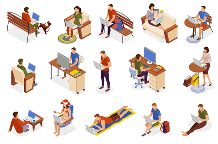 Freelancer typical day isometric icons collection with working home outdoor in park cafe on beach vector illustration