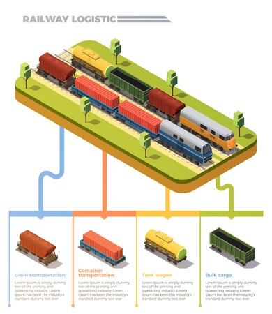 Railway logistic freight trains isometric infographic chart with bulk cargo tank wagon grain containers transportation vector illustration