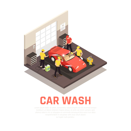 Carwash isometric consept with self service and automatic car wash symbols vector illustration Illustration