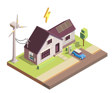 Green renewable energy production for home consumption isometric composition with wind and solar power generators vector illustration Foto de archivo - 118169137