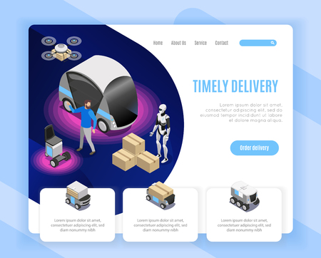 Robot delivery service order options isometric web page design with drone landing humanoid loading goods vector illustration Ilustração