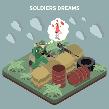 Soldiers dreams isometric composition with sniper sitting in entrenchment and remembering his girlfriend vector illustration Illustration