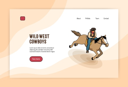 Wild west cowboy on horseback isometric concept of web banner on light background vector illustration