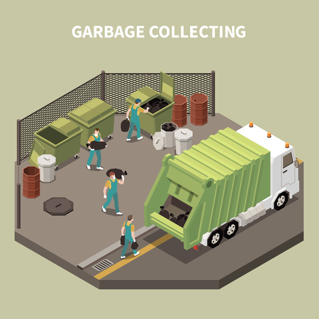 Colored and isometric garbage recycling composition with garbage collecting and workers scavengers vector illustration Vektorové ilustrace