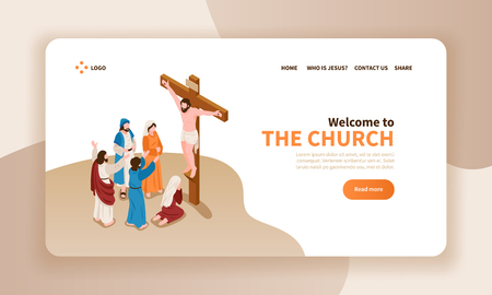 Isometric bible narratives horizontal banner landing page website design with text christ crucified and prayer characters vector illustration
