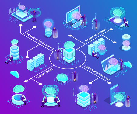 Artificial intelligence isometric flowchart with set of glow icons illustrated modern innovative technologies used in quantum computing and mobile software vector illustration Illustration