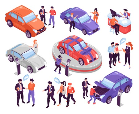 Isometric icons set with people discussing and choosing cars in show room isolated on white background 3d vector illustration