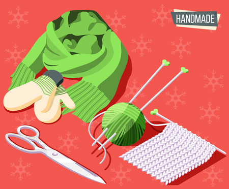 Hobby crafts isometric background with knitting tools and handmade scarf and mittens 3d vector illustration Иллюстрация