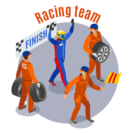 Racing sports composition with racinf team at finish symbols isometric vector illustration