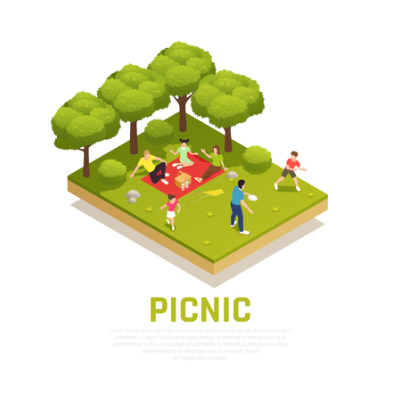 Family playing concept with family picnic in park symbols isometric vector illustration Çizim