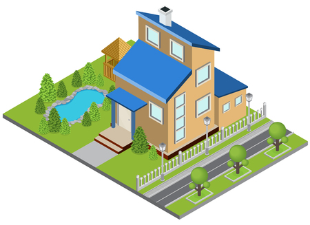 Suburbia building concept with town house swimming pool isometric vector illustration