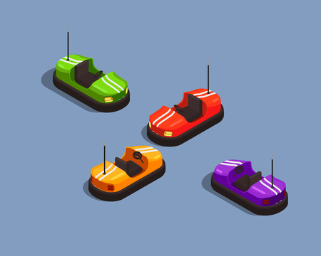 Isometric composition with four colorful bump cars in amusement park 3d isolated vector illustration Vectores