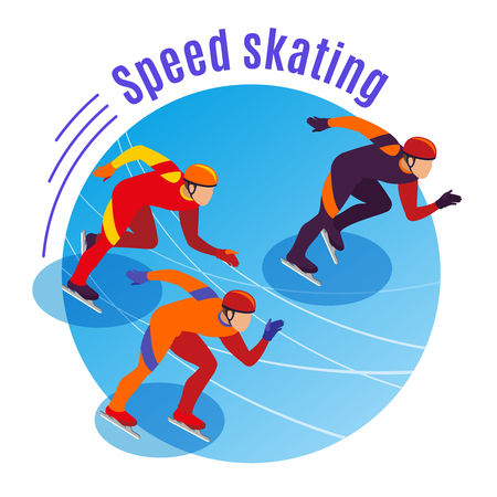Speed skating round background with three sportsmen competing on treadmill isometric vector illustration
