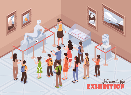 Isometric guide excursion museum background composition with text and indoor view of history museum with people vector illustration