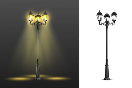 Composition de deux lampadaires réalistes sertie de compositions multicolores et noires et blanches illustration vectorielle