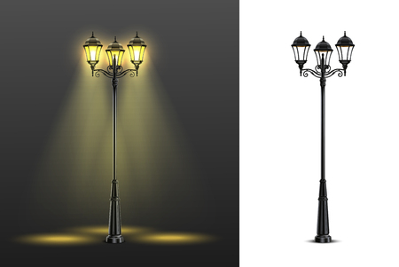 Two realistic street lights composition set with multicolored and black and white compositions vector illustration Vectores