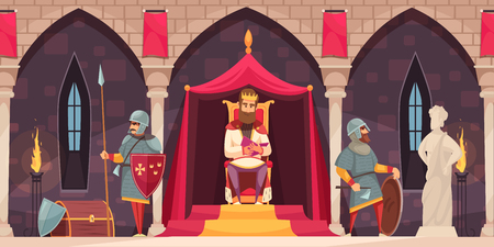 Medieval castle interior flat cartoon composition with king throne armed knight coat of arms guard vector illustration   Vettoriali