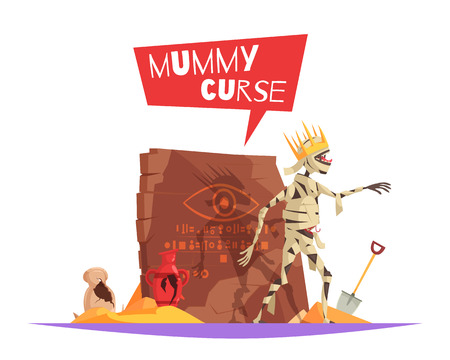Curse of pharaohs evil character causing bad luck funny cartoon composition with disturbed mummy walking vector illustration