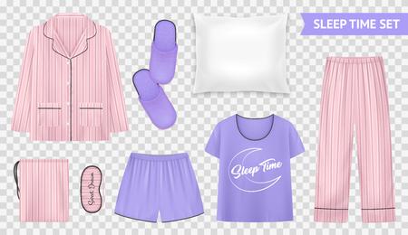 Transparentes Set für die Schlafzeit mit leichten und warmen Pyjama-Stilen und Accessoires für eine bequeme Schlafvektorillustration Vektorgrafik