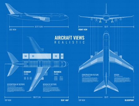 Aviation industrial dimensioned drawing blueprint of outline airplane top side and front views realistic vector illustration