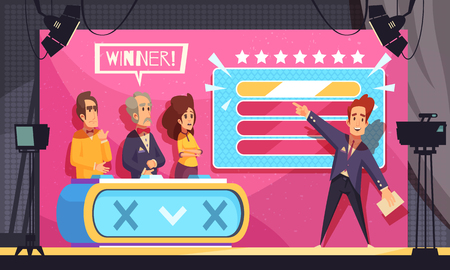 Populaire tv gok woord spel televisieshow laatste moment cartoon compositie met gastheer deelnemers winnaar vectorillustratie