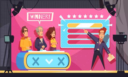 Popular tv adivina el juego de palabras programa de televisión composición de dibujos animados del momento final con la ilustración de vector de ganador de concursantes de anfitrión