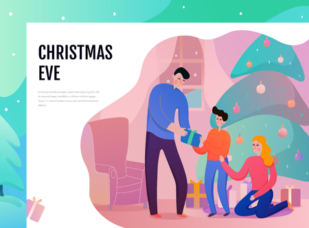 Family parents and son near xmas tree with gifts during christmas eve flat vector illustration