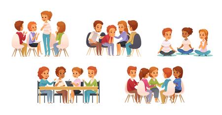 Groepstherapie cartoon pictogrammenset met groep van drie of vier kinderen vectorillustratie
