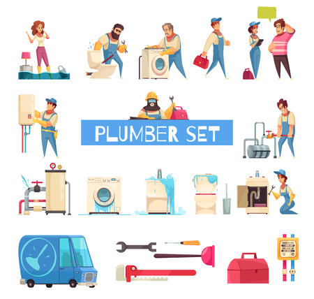 Plumber big cartoon set with burst pipes repair flooded home fixing sanitary washing machine installation vector illustration Illustration