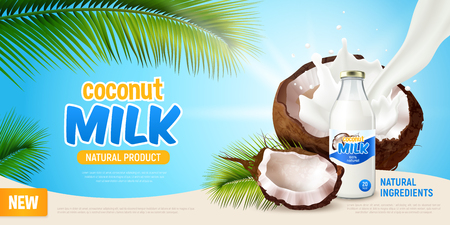 Coconut milk realistic poster with advertising of natural product green leaves of palm tree cracked coconut and non dairy vegan milk in bottle vector illustration Standard-Bild - 119054207