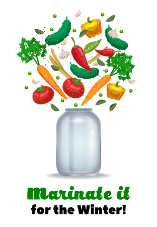 Pickles jar composition with ornate text and images of empty mason jar and ripe vegetable pieces vector illustration Ilustração