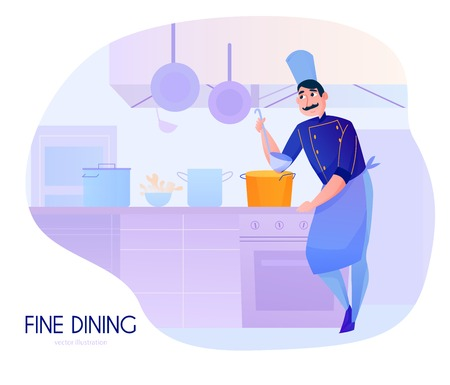 Colorful cartoon composition with male cook tasting soup in restaurant kitchen vector illustration