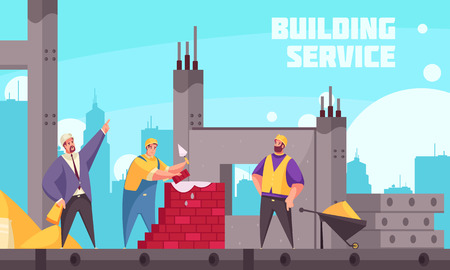 Building service flat poster with industrial technician instructing team of builders making brickwork vector illustration