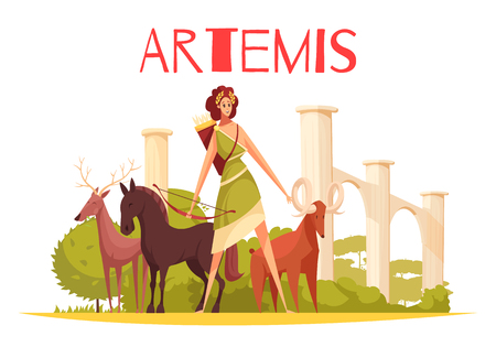 Greek goddess flat composition with cartoon characters of artemis holding bow and group of animals vector illustration
