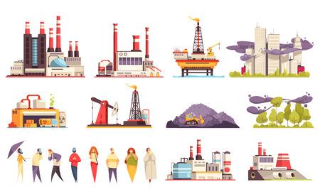 Industrial buildings cartoon set of factories power plants oil offshore platform isolated vector illustration