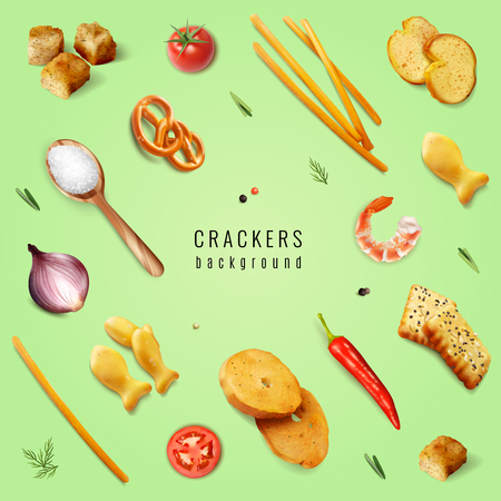 Crackers and snacks with different forms and flavoring additives on green background realistic vector illustration