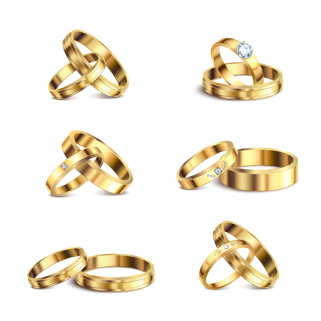 Gold wedding rings couple series 6 realistic isolated sets noble metal jewelry against white background vector illustration