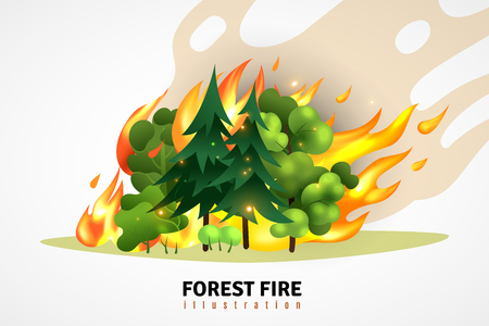 Natural disasters cartoon design concept illustrated green coniferous and deciduous trees in forest on raging fire vector illustration