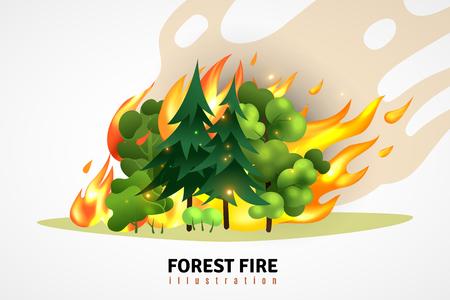 Naturkatastrophen-Cartoon-Design-Konzept illustrierte grüne Nadel- und Laubbäume im Wald auf wütender Feuervektorillustration