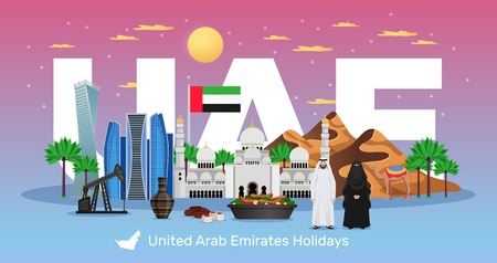 UAE travel flat horizontal composition with tourists attractions national flag clothing dishes natural monuments architecture vector illustration Illustration