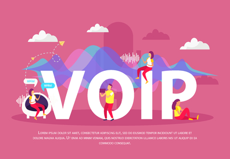 Voip flat background with people used voice over internet protocol service for communication in network vector illustration
