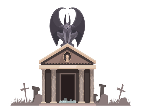 Dark evil with spread wings sitting on roof of the cemetery crypt near graves with crosses cartoon vector illustration