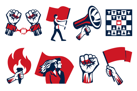 Revolution propagating calls for fight freedom unity symbols 2 horizontal vintage constructivist icons sets isolated vector illustration