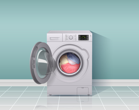 Waschmaschine realistische zusammensetzung mit hausarbeitsausrüstungssymbolen vector illustration