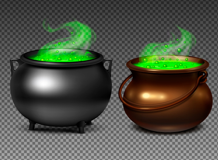 Witch cauldrons with magical green potion on transparent background realistic set isolated vector illustration